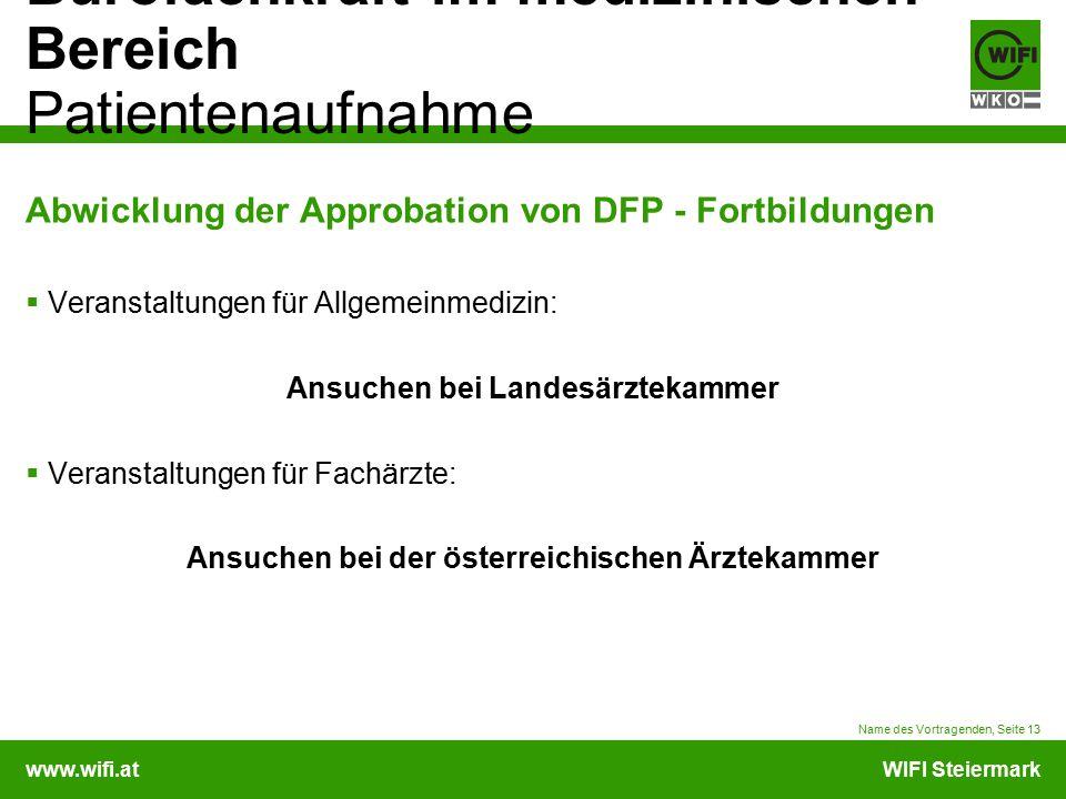 Abwicklung der Approbation von DFP - Fortbildungen