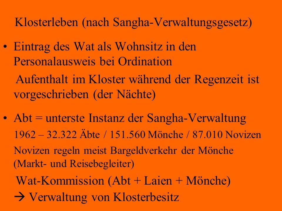 Klosterleben (nach Sangha-Verwaltungsgesetz)