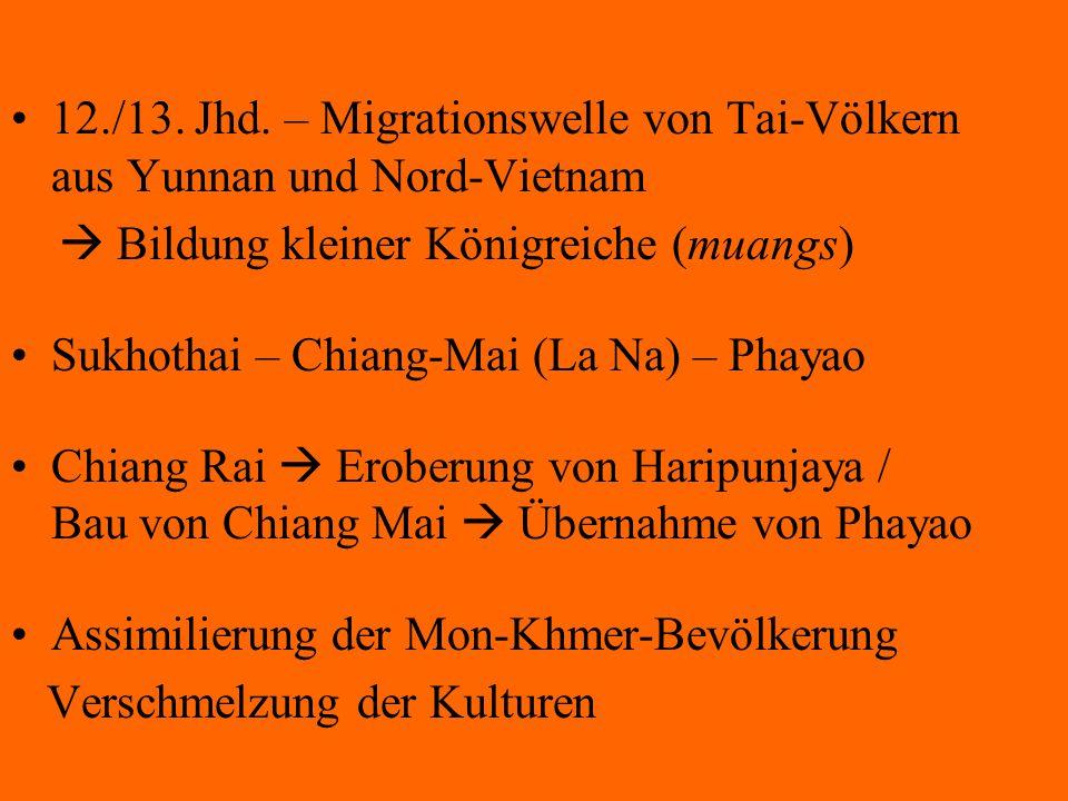 12./13. Jhd. – Migrationswelle von Tai-Völkern aus Yunnan und Nord-Vietnam