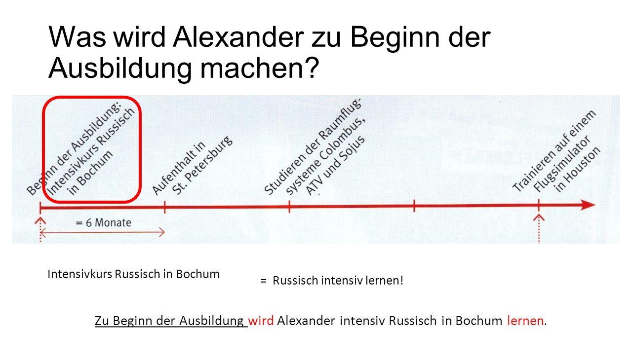 Was wird Alexander zu Beginn der Ausbildung machen