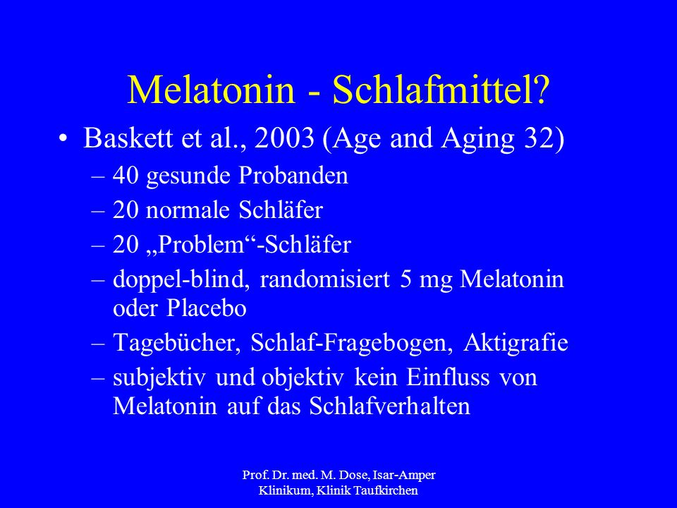 Melatonin - Schlafmittel