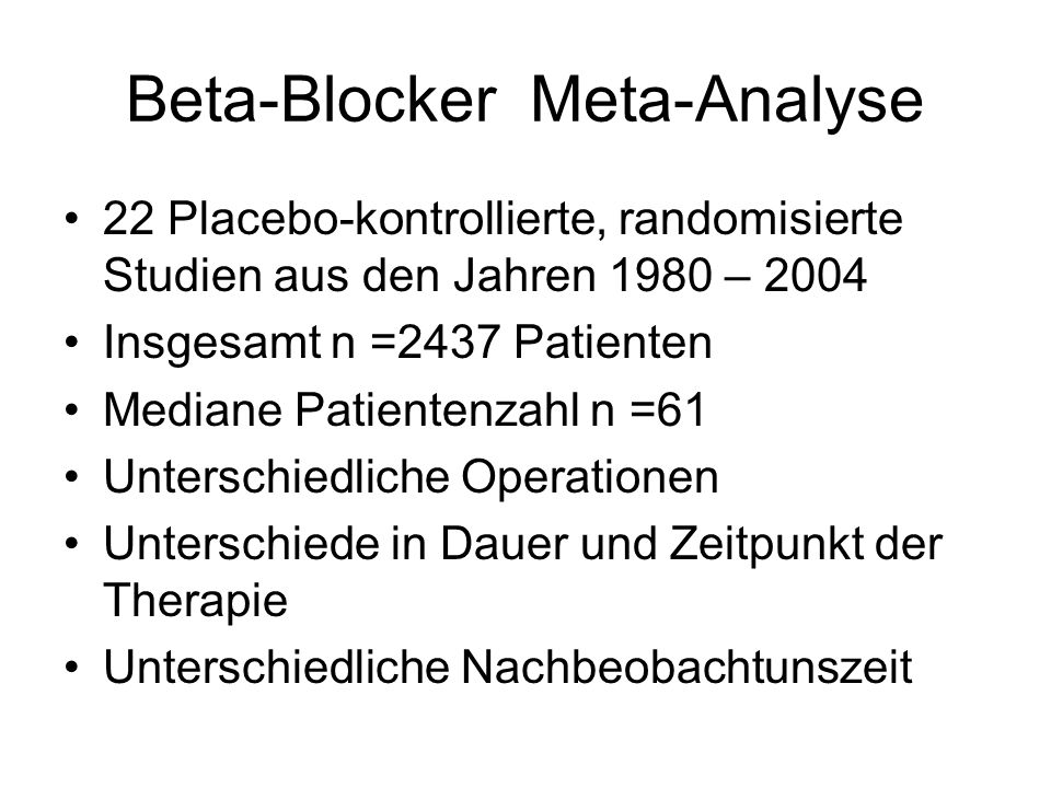 Beta-Blocker Meta-Analyse