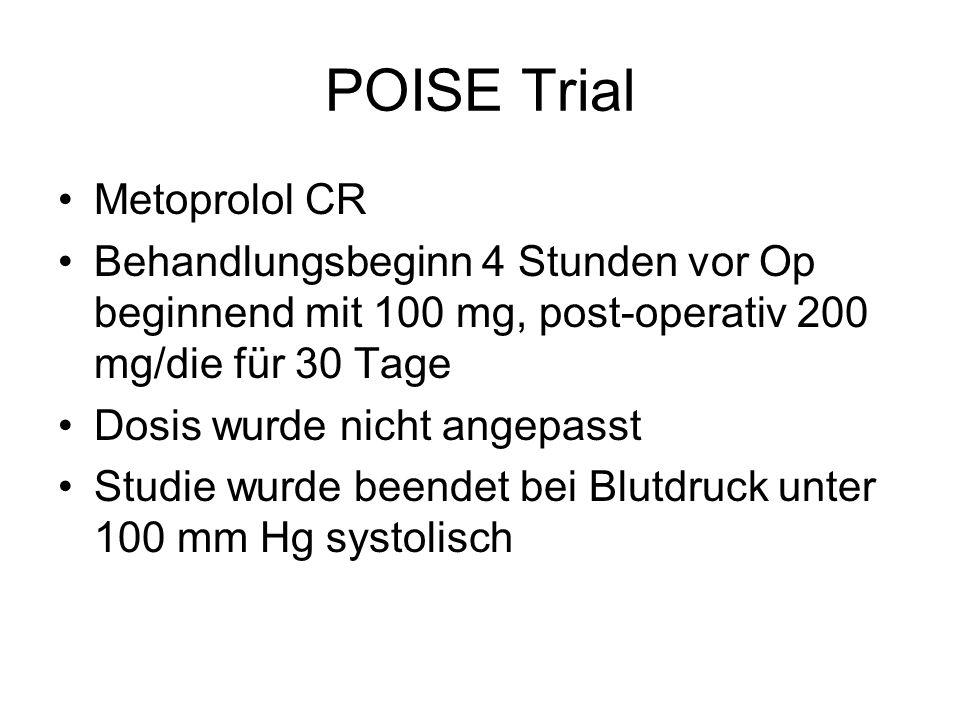 POISE Trial Metoprolol CR