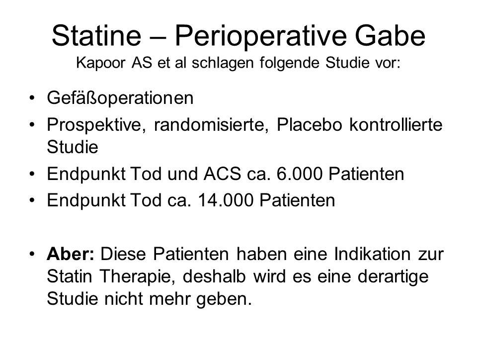 Statine – Perioperative Gabe Kapoor AS et al schlagen folgende Studie vor: