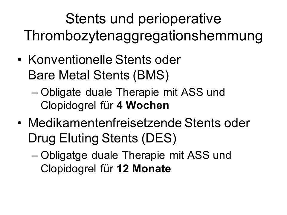 Stents und perioperative Thrombozytenaggregationshemmung