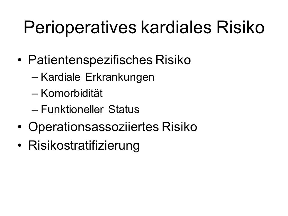 Perioperatives kardiales Risiko