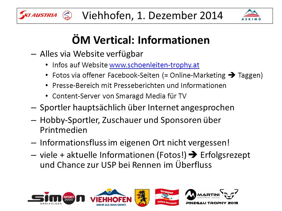 ÖM Vertical: Informationen