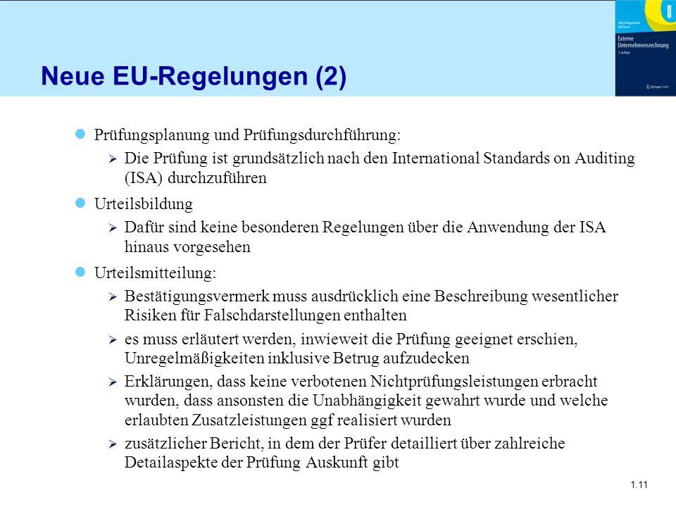 Neue EU-Regelungen (2) Prüfungsplanung und Prüfungsdurchführung: