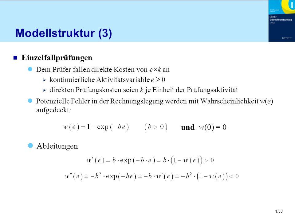 Modellstruktur (3) Einzelfallprüfungen und w(0) = 0 Ableitungen