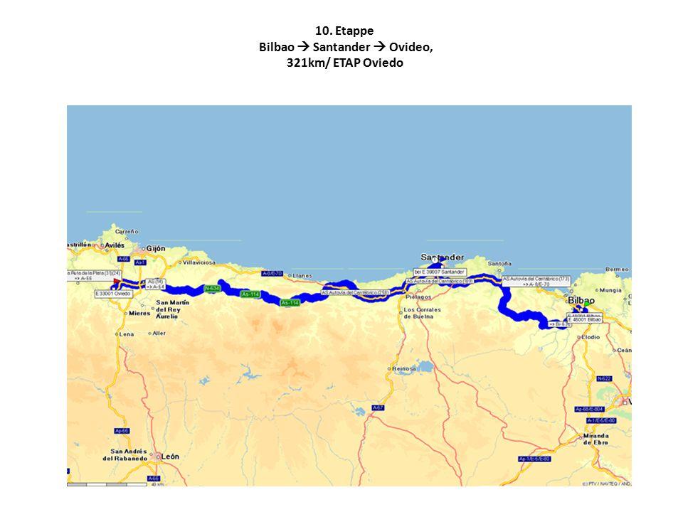10. Etappe Bilbao  Santander  Ovideo, 321km/ ETAP Oviedo