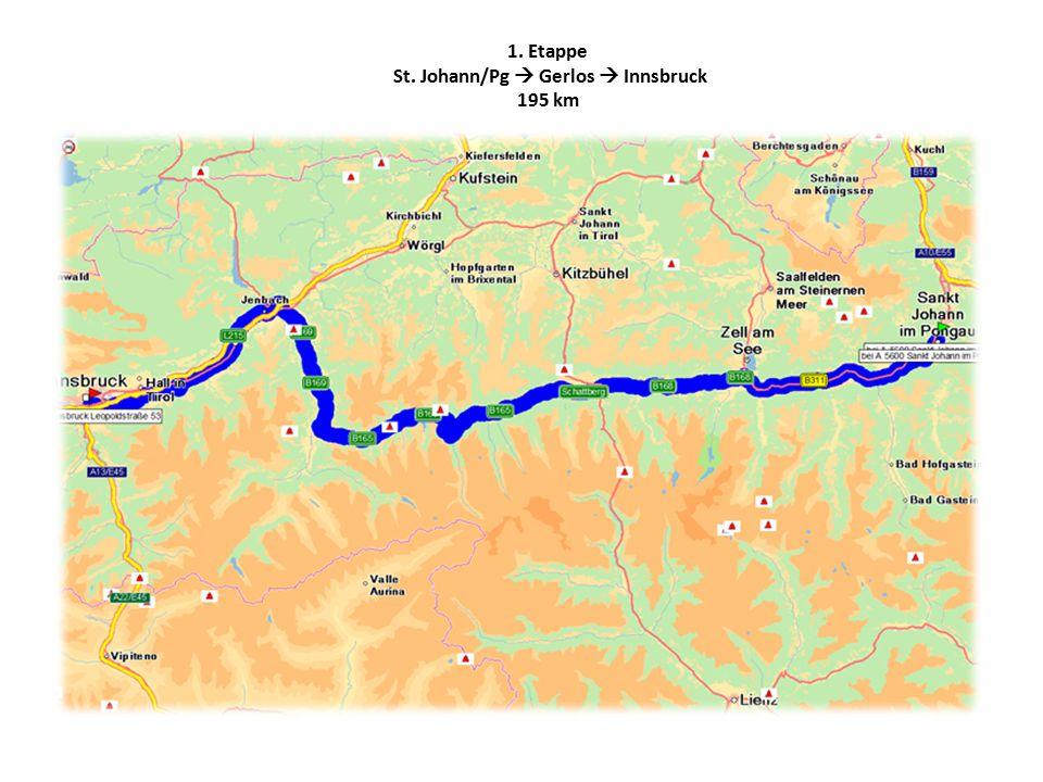 1. Etappe St. Johann/Pg  Gerlos  Innsbruck 195 km