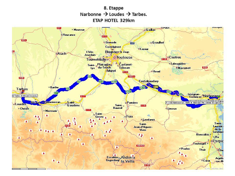 8. Etappe Narbonne  Loudes  Tarbes. ETAP HOTEL 329km