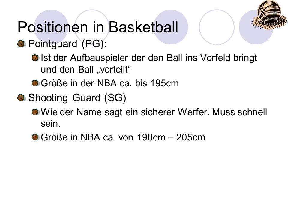 Positionen in Basketball