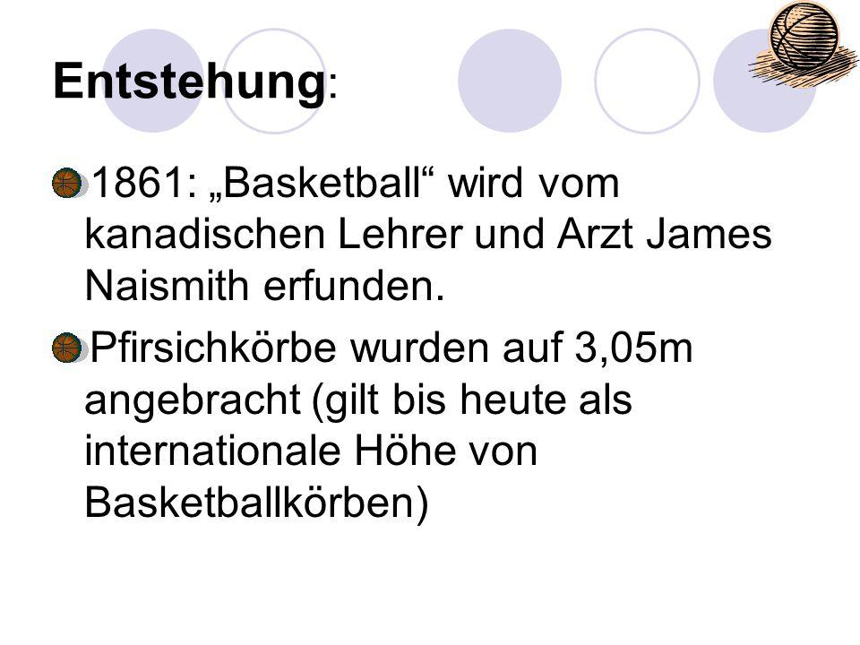 """Entstehung: 1861: """"Basketball wird vom kanadischen Lehrer und Arzt James Naismith erfunden."""
