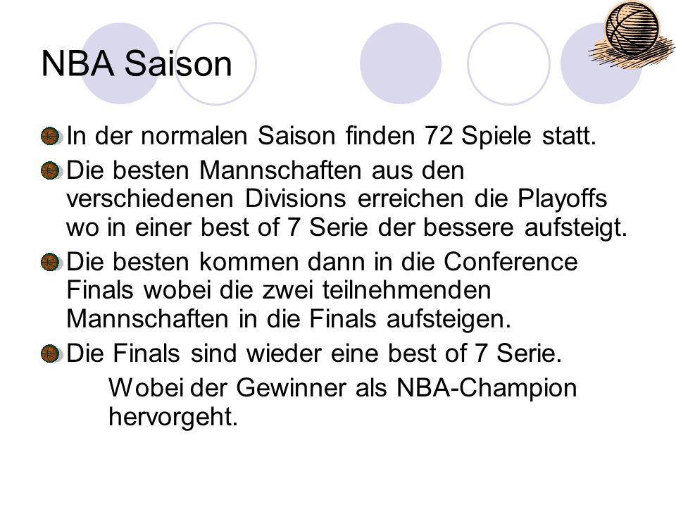 NBA Saison In der normalen Saison finden 72 Spiele statt.