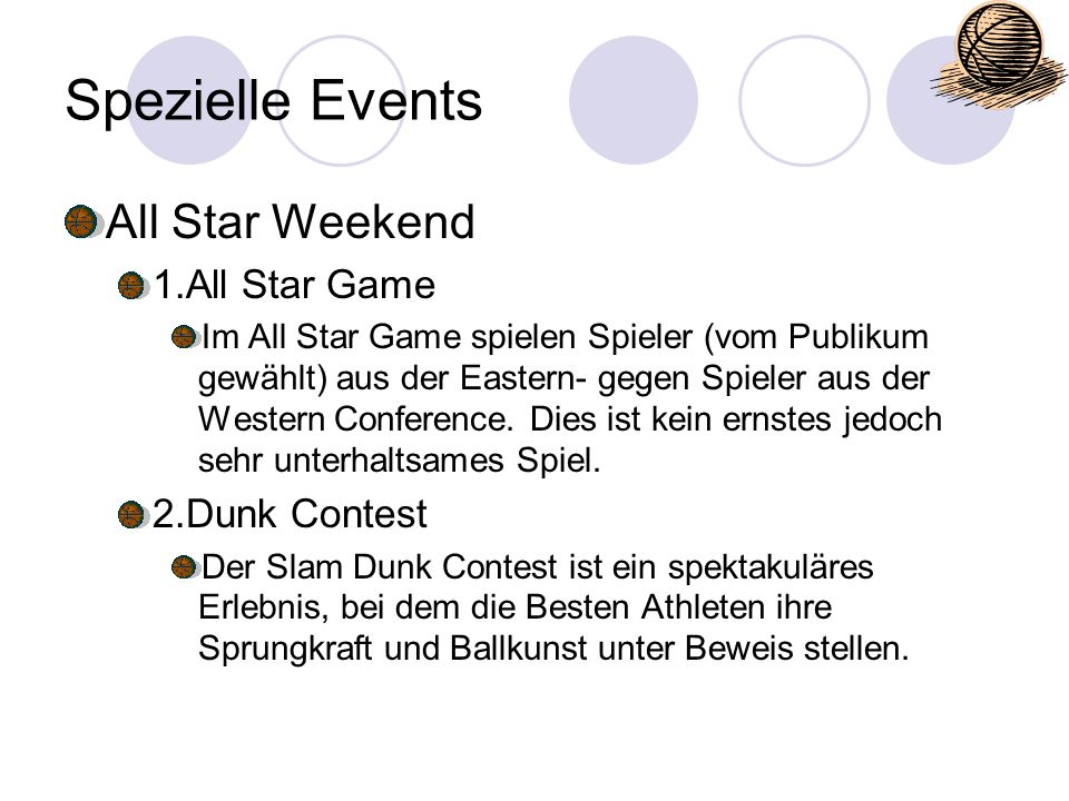 Spezielle Events All Star Weekend 1.All Star Game 2.Dunk Contest