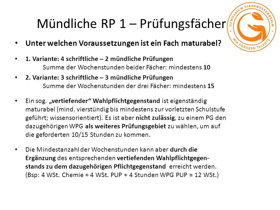 Mündliche RP 1 – Prüfungsfächer