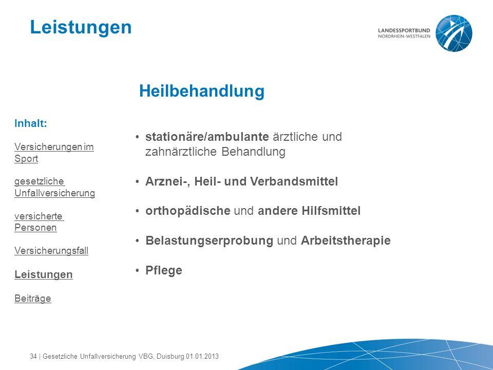 Leistungen Heilbehandlung stationäre/ambulante ärztliche und