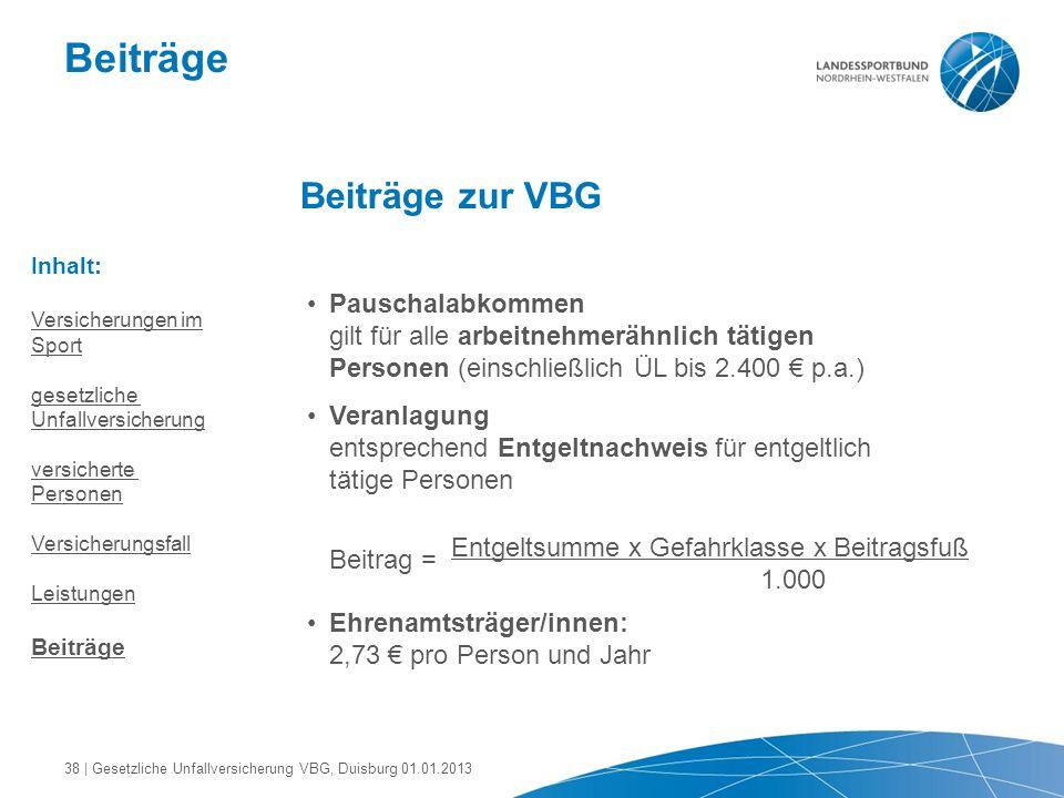 Beiträge Beiträge zur VBG Pauschalabkommen