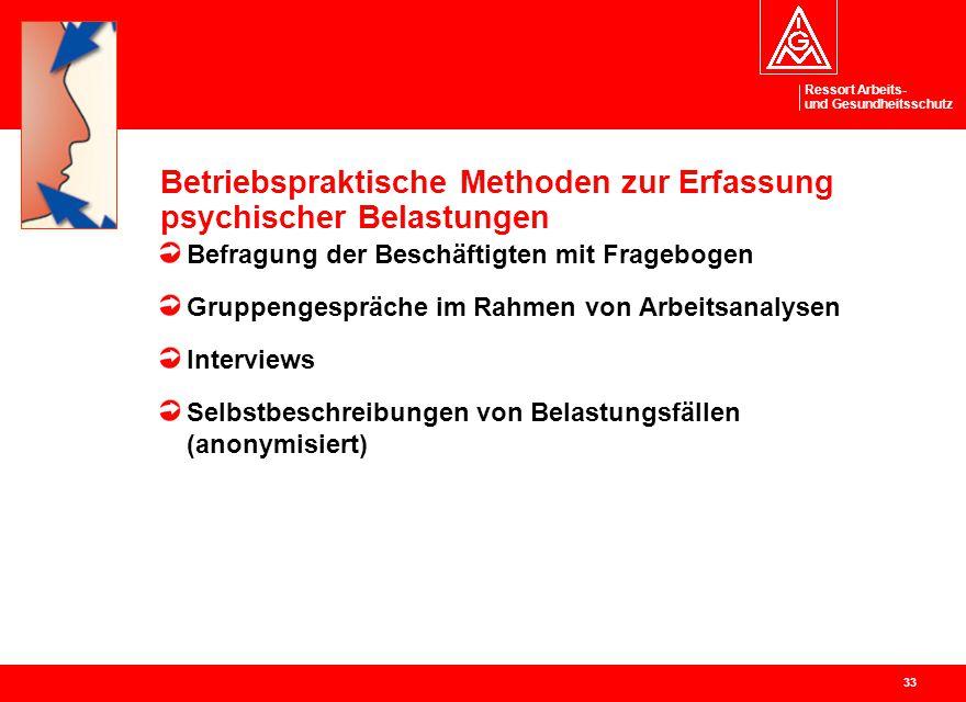 Betriebspraktische Methoden zur Erfassung psychischer Belastungen