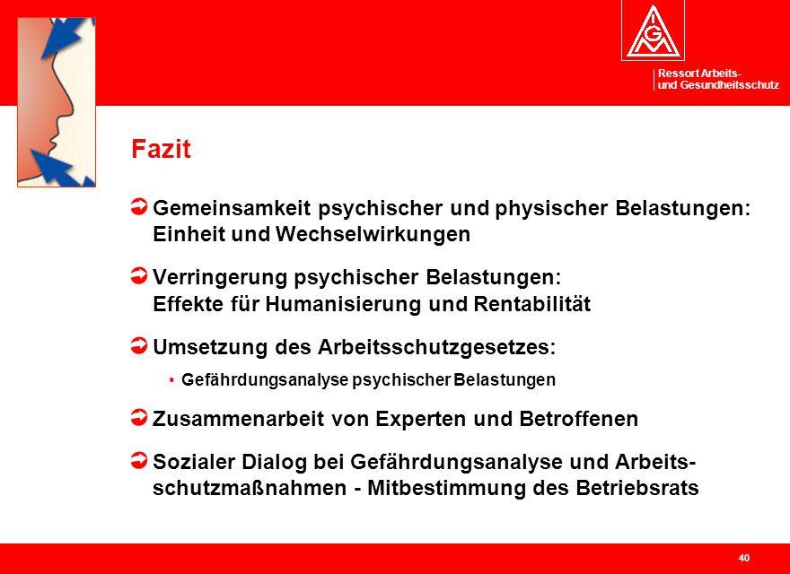 Fazit Gemeinsamkeit psychischer und physischer Belastungen: Einheit und Wechselwirkungen.