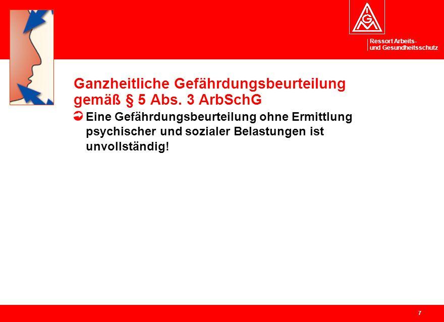 Ganzheitliche Gefährdungsbeurteilung gemäß § 5 Abs. 3 ArbSchG