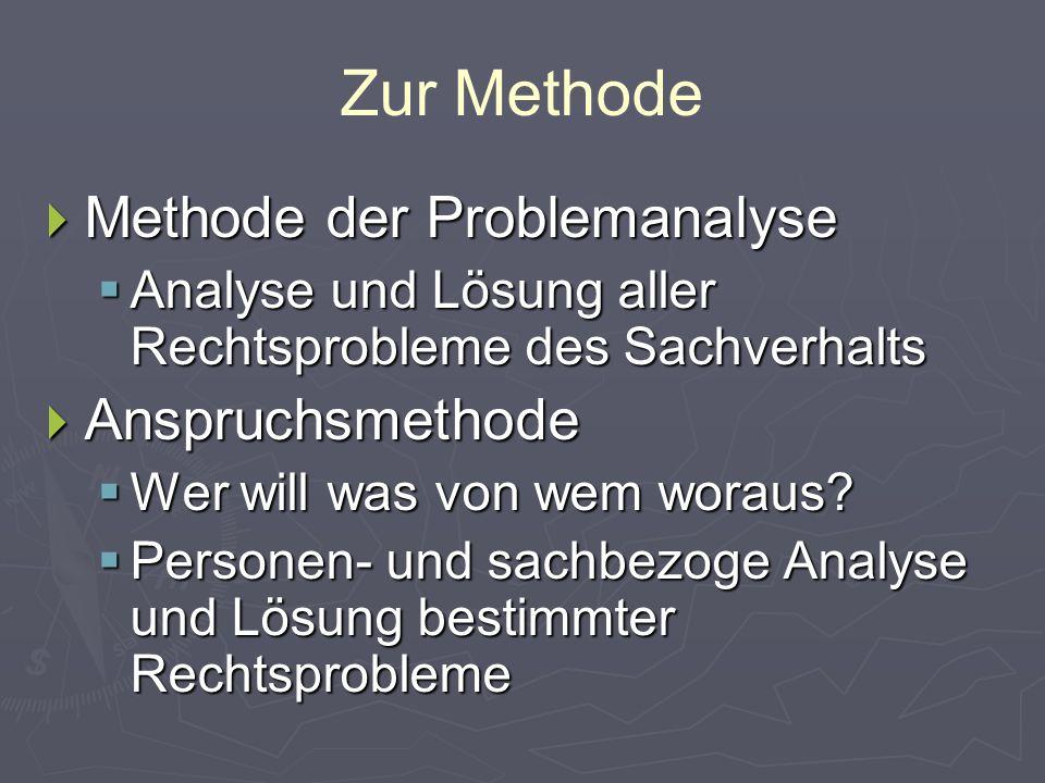 Zur Methode Methode der Problemanalyse Anspruchsmethode
