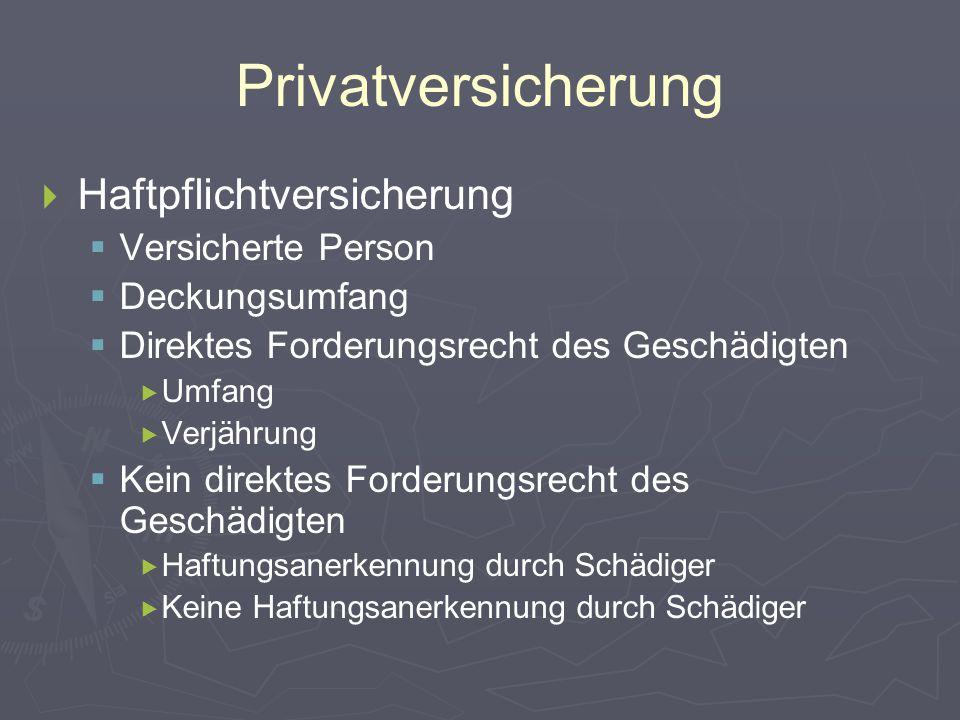 Privatversicherung Haftpflichtversicherung Versicherte Person