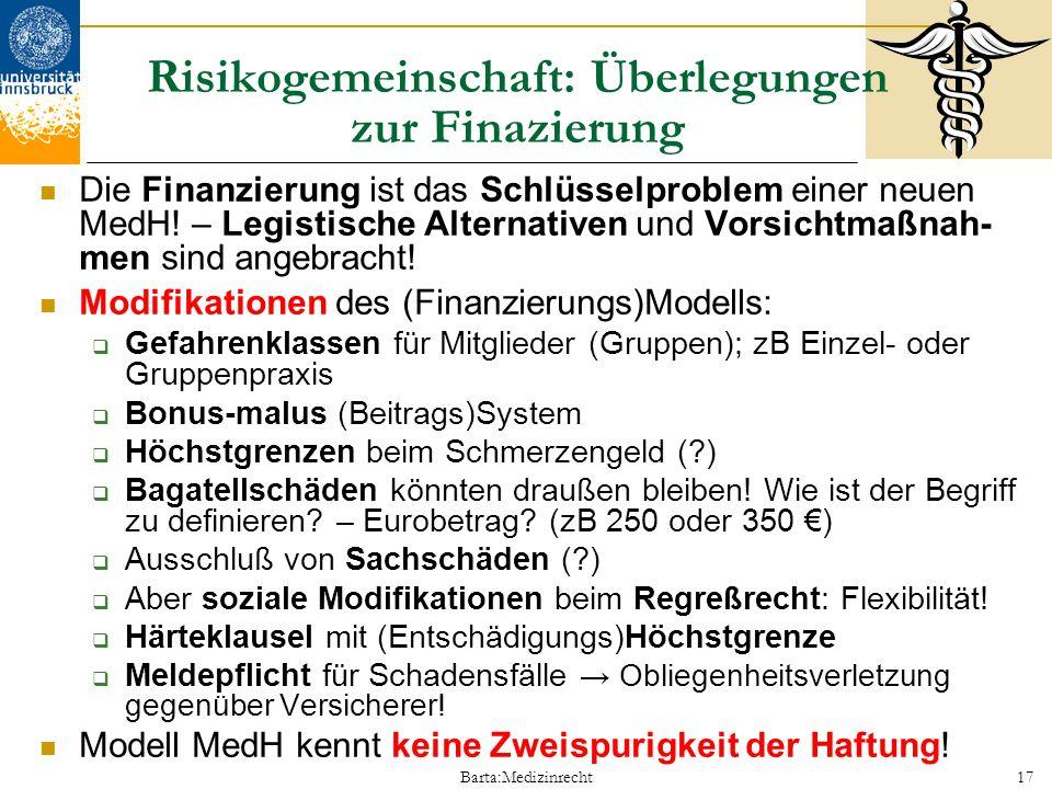 Risikogemeinschaft: Überlegungen zur Finazierung