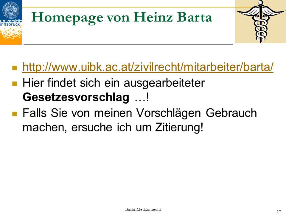 Homepage von Heinz Barta