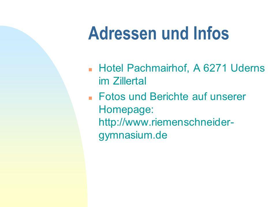 Adressen und Infos Hotel Pachmairhof, A 6271 Uderns im Zillertal