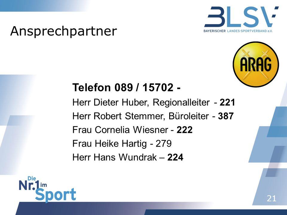 Ansprechpartner Telefon 089 / 15702 -