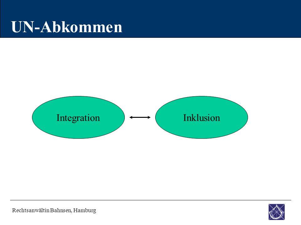 UN-Abkommen Integration Inklusion Rechtsanwältin Bahnsen, Hamburg