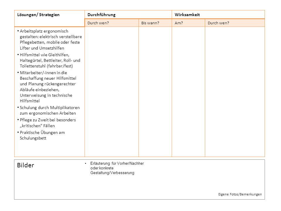 Bilder Lösungen/ Strategien Durchführung Wirksamkeit