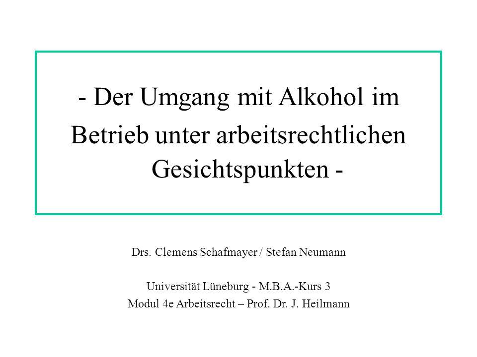 - Der Umgang mit Alkohol im