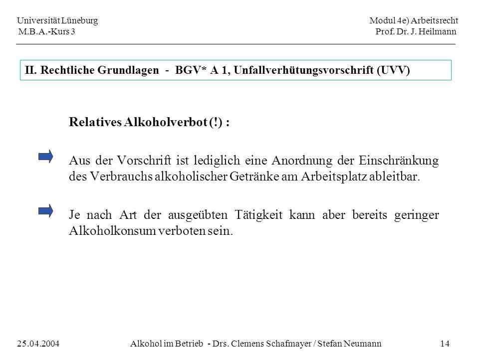 II. Rechtliche Grundlagen - BGV* A 1, Unfallverhütungsvorschrift (UVV)