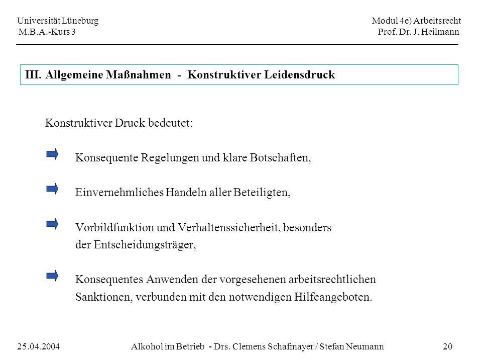 III. Allgemeine Maßnahmen - Konstruktiver Leidensdruck
