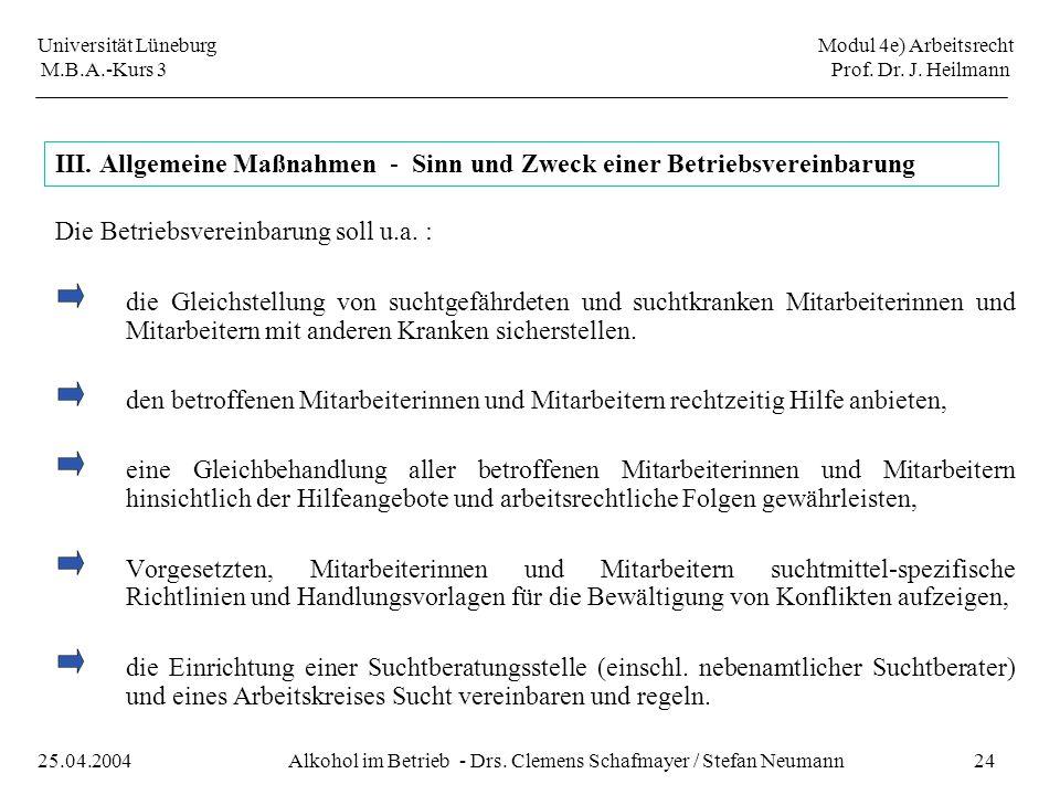 III. Allgemeine Maßnahmen - Sinn und Zweck einer Betriebsvereinbarung