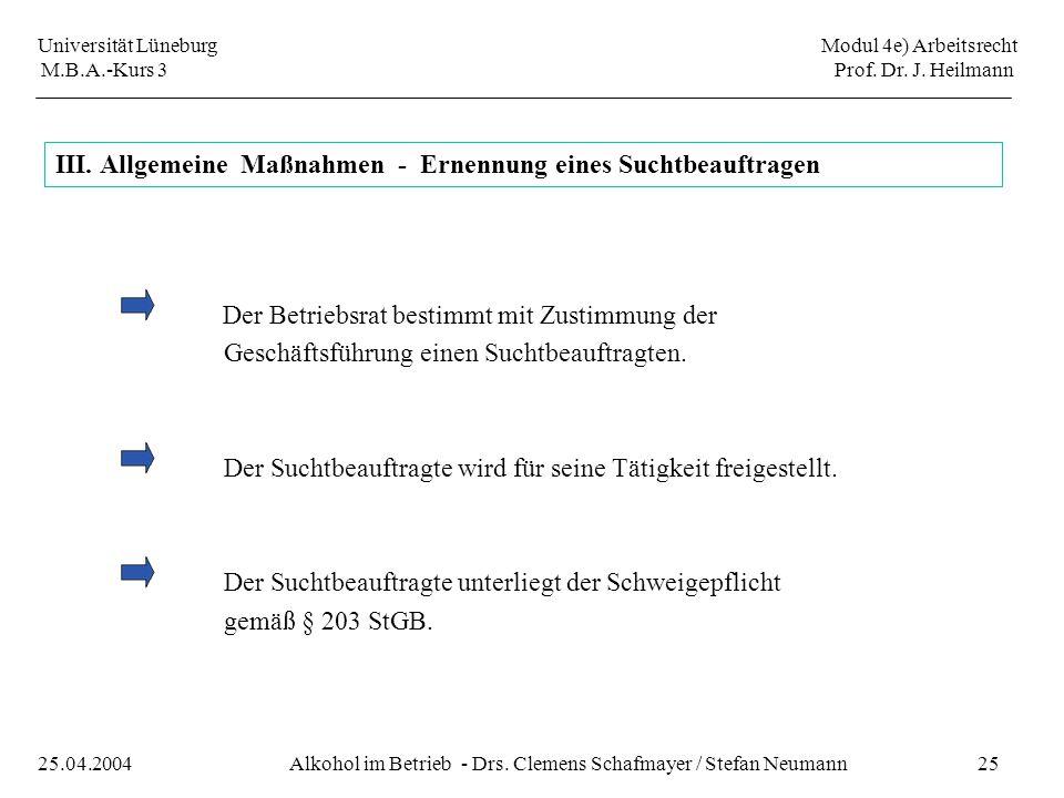 III. Allgemeine Maßnahmen - Ernennung eines Suchtbeauftragen