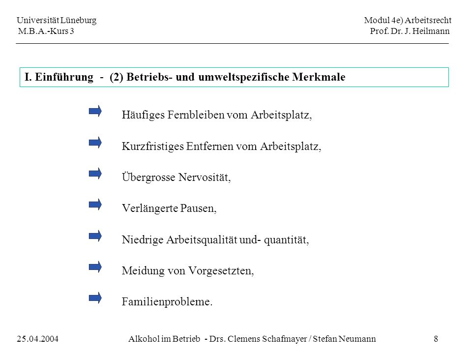 I. Einführung - (2) Betriebs- und umweltspezifische Merkmale