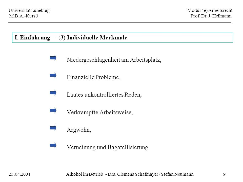 I. Einführung - (3) Individuelle Merkmale