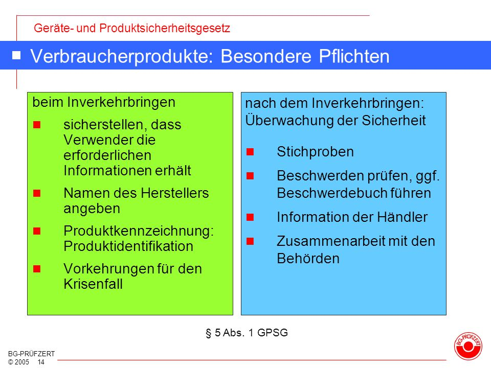Verbraucherprodukte: Besondere Pflichten