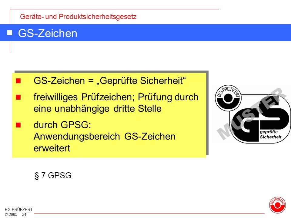 """GS-Zeichen GS-Zeichen = """"Geprüfte Sicherheit"""