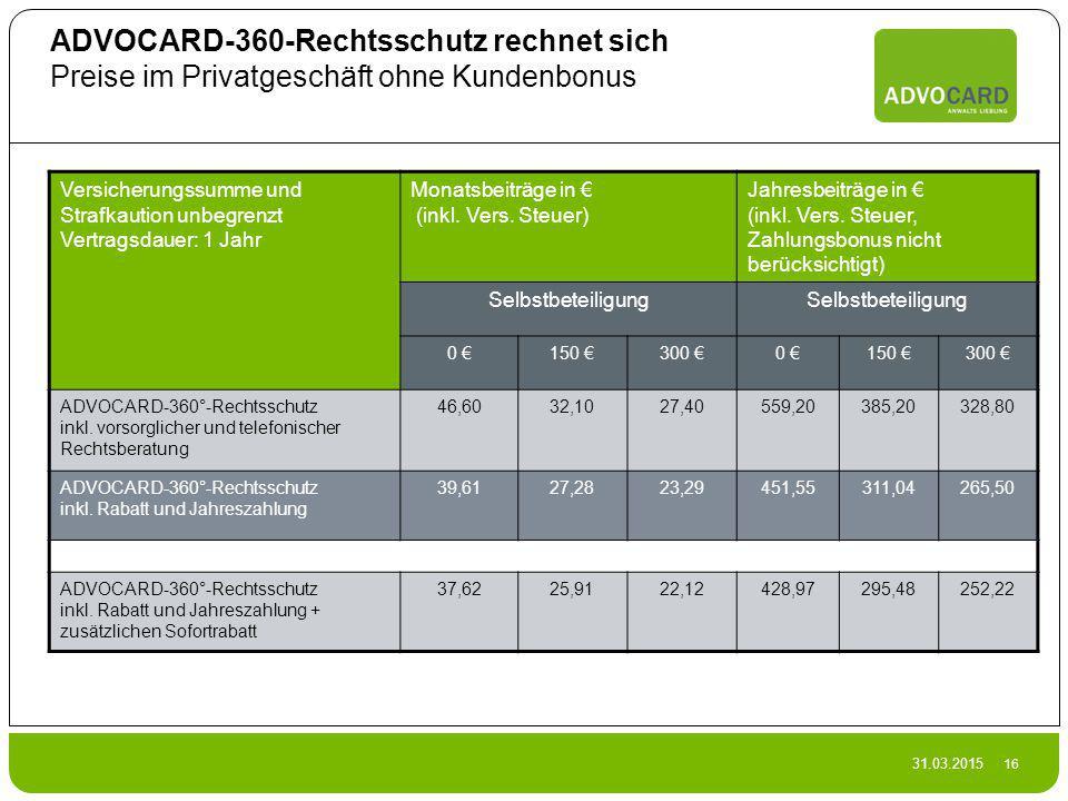 ADVOCARD-360-Rechtsschutz rechnet sich Preise im Privatgeschäft ohne Kundenbonus