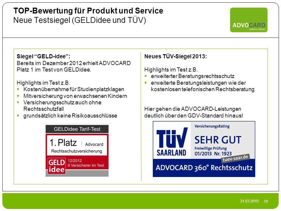 TOP-Bewertung für Produkt und Service Neue Testsiegel (GELDidee und TÜV)