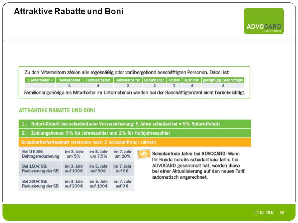Attraktive Rabatte und Boni