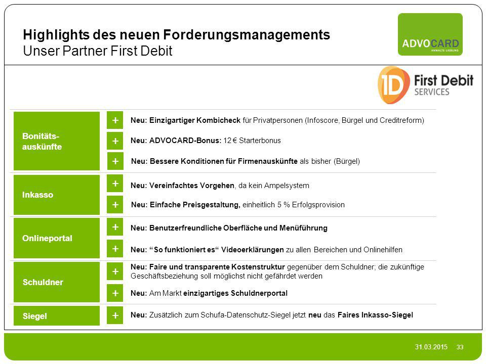 Highlights des neuen Forderungsmanagements Unser Partner First Debit