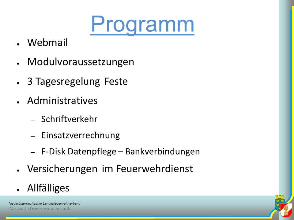 Programm Webmail Modulvoraussetzungen 3 Tagesregelung Feste
