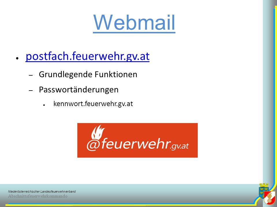 Webmail postfach.feuerwehr.gv.at Grundlegende Funktionen