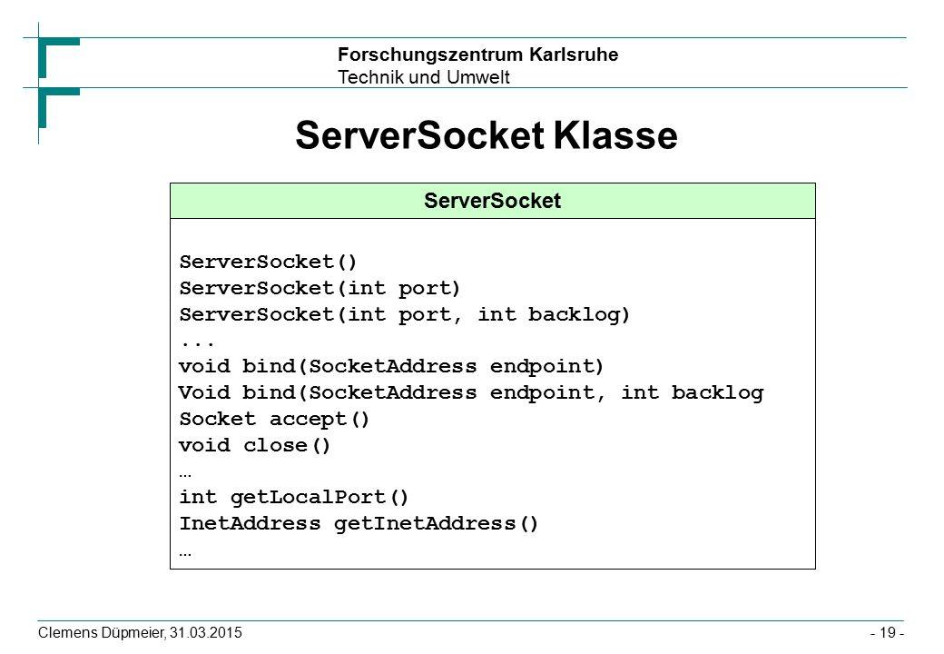 ServerSocket Klasse ServerSocket ServerSocket() ServerSocket(int port)